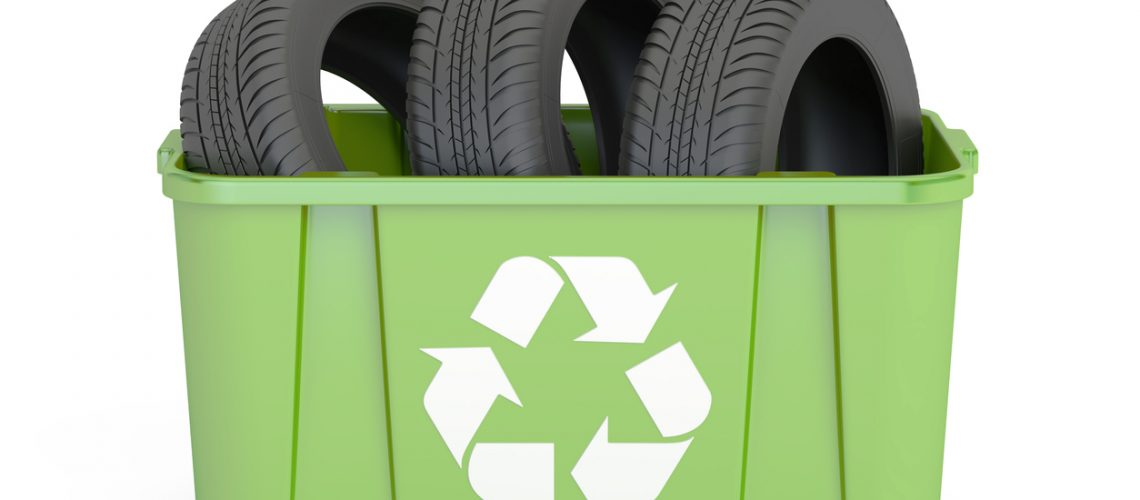 recycling trashcan with tires of car, 3D rendering